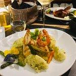 Duo of shrimps and local mahi mahi, green asparagus risotto, basil-lemon sauce