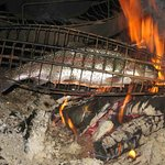 Fresh and delicious rainbow trout grilled in the hut for lunch.
