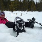 Snoshoeing is fun for big or small at Wolf Lake area.