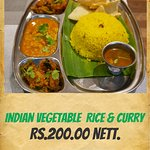 Indian Vegetable Rice and Curry Set Menu
