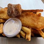 $10 Fish and chips with deep fried kiwi