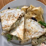 "Thanks BroS :) Zesty chicken pesto in ""wrap"" quesadilla-style w/crunchy kettle chips"