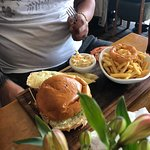 The burger was cooked to perfection. You must have a healty appetite to tackle it though