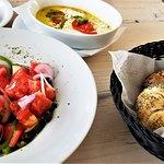 Shard Greek salad, backed feta, and local bread: Delish!
