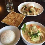 Pictured is vegetable and tofu curry, roti, rice and vegetable and tofu with rice.