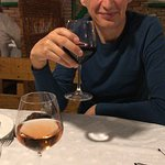 """My husband, tired but happy and relaxed, enjoying his red wine in """"La Taifas"""""""