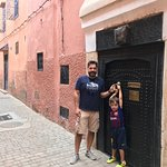Me and my son at the riad's entrance. All buildings in Marrakesh look the same, until you enter