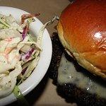 My tasty Mushroom Swiss Burger with a side of coleslaw.