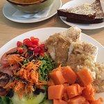cod, sweet potatoes, salad