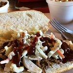 brisket beef sandwich with my coleslaw on top