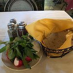 Lavash, basil, radishes and onion.