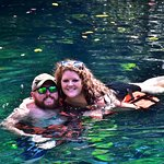 Swimming in a cenote with my husband