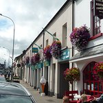 main Street lined with beautiful hanging flower baskets
