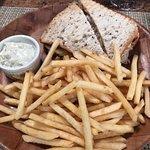 Reuben Sandwich with Mahi Mahi and a side of fries