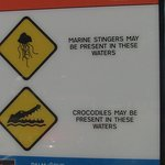 Although this sign is from Palm Cove just up the road from Cairns similar signs a dotted around