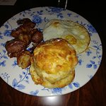 """""""The Jockey""""--eggs, home fries, and a biscuit"""