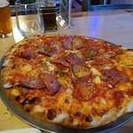 Delicious pizza and beer
