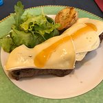 steak with brie and apricot jam