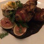Codorniz, oder it. bacon wrapped quail stuffed w/ chorizo, mole figs & corn bread