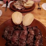 Beefsteak. A little bit more than medium cooked.