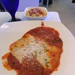 Veal parmesan with pasta
