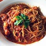 Pasta with shrimp in tomato sauce
