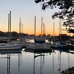 Marina sunset with sail boats