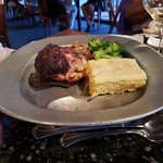 Half Chicken with Corn Bread and Broccoli.