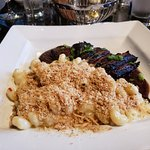 Bourbon Barbecue Hanger Steak with Southern Style Mac and Cheese