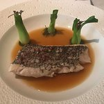 Entree - Steamed Black Bass; Baby Bok Choy; Bitter Orange-Lenongrass Infused Bouillon