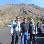 Bali Bliss Tour driver Bagus and customers at Mount Batur Volcano for Hike tour