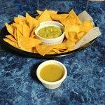 Tortilla chips, Guacamole, and salsa