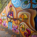 """10-20-18:  A train tunnel painted by the whimsical local artist Ryan """"Henry"""" Ward.  Larrabee Sta"""