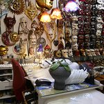 Mask makers shop and some of his creations