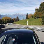 Car Park on road from Vaduz to Malbun..... the sky is so blue