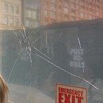 Broken window in bus