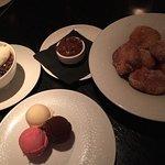 Desserts at RPM (clockwise: Bill's Chocolate Budino, Bombolini, & Gelato)