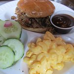 Pulled pork, mac and cheese, and cucumber salad