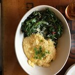 Delicious cheese grits and greens- yum!
