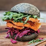 house crumbed chicken burger, smokey jalapeno ketchup, red slaw