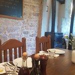 Restaurant interior, table setup. Menu