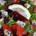 carrot, beetroot and blue cheese salad, hard to beat at $9!