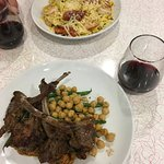 Shrimp & pasta, lamb chops with beans and chick peas. Paired with Knob Hall red.