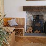 nice log burner and seating area