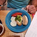Poached Eggs, Pesto, Mozzarella and fresh bread
