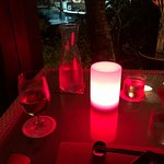 Cool red light at dinner