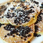 Chocolate Chip Pancakes. Oh so good. Too much for one person, but they are great later in the da