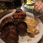 Ribs, chicken, corn pudding, and shrimp cocktail