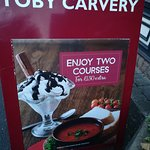 This billboard confirms my text in relation to upgrading to 2 courses for just £1.50.
