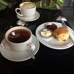 scone, tea and coffee